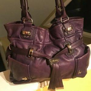 B Makowsky Large Eggplant Purple Leather Tote Bag